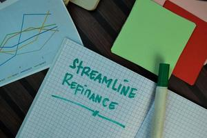 Rationaliser le refinancement écrit sur livre isolé sur table en bois