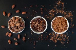 graines de fèves de cacao, éclats de cacao et poudre de cacao photo
