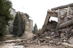 Prostejov, République tchèque 2014- bâtiment en béton industriel détruit par une explosion photo