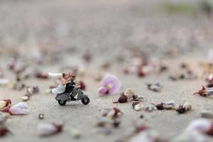 Couple miniature à moto dans un jardin photo
