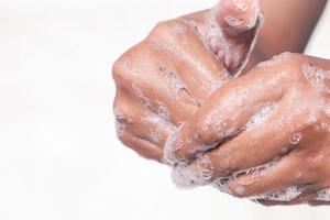 gros plan, de, homme, lavage mains