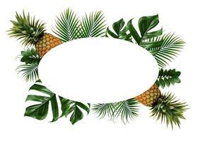 cadre de feuilles tropicales isolé sur fond blanc