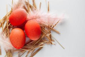 oeufs et plumes de Pâques orange dans un nid sur fond blanc. photo