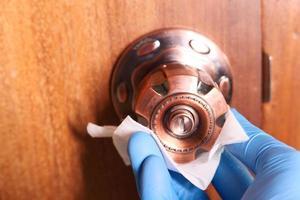 bouton de porte désinfectant photo