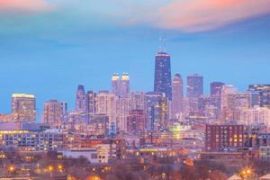 Skyline du centre-ville de chicago au coucher du soleil illinois