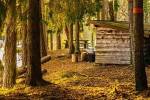 abri en bois pendant la nuit au soleil du soir photo
