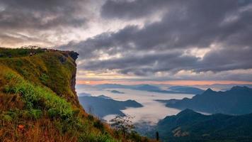 Montagne de phu chifa avec brouillard et ciel nuageux à la province de chiang rai, thaïlande photo