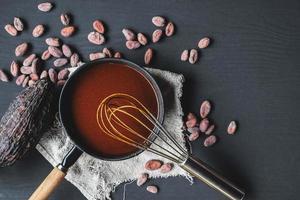 chocolat dans une casserole avec un fouet photo