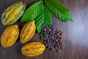 fruits et feuilles de cacao avec grains de café photo