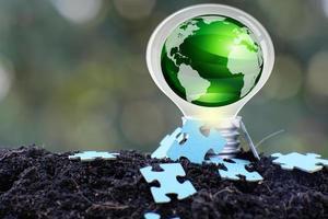 ampoule à économie d'énergie et concept de croissance d'entreprise ou d'entreprise photo