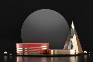 podium de scène d'or de luxe élégant abstrait, rendu 3d