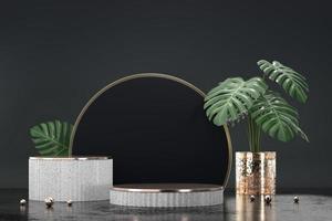 podium blanc pour vitrine de présentation de produit avec décoration de pot monstera photo