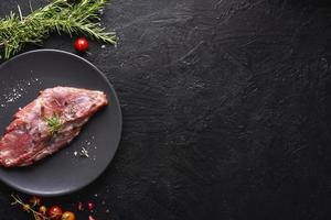 vue de dessus concept de viande avec espace copie