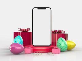 Le rendu 3D de l'écran du téléphone vierge avec des décorations de Pâques sur fond blanc photo