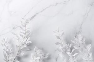 cadre de branches blanches sur fond de marbre photo