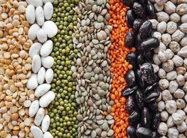 fond de nourriture avec différentes légumineuses photo