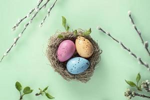 fond de Pâques avec des oeufs peints de saule dans le nid. Pâques orthodoxe, dimanche de saule chatte