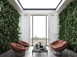 salon avec terrasse intérieure lumineuse photo