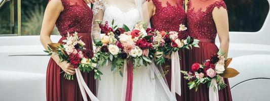 mariée et demoiselles d'honneur photo