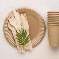 vaisselle jetable écologique et espace de copie photo