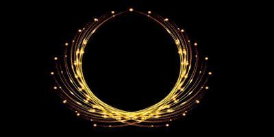 fond de cercle abstrait courbe de lumière dorée sparkle, illustration 3d photo