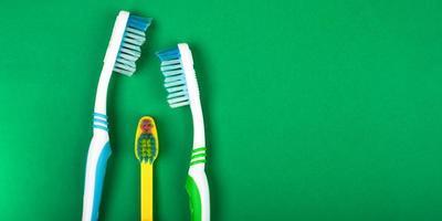 famille de brosses à dents sur fond vert photo