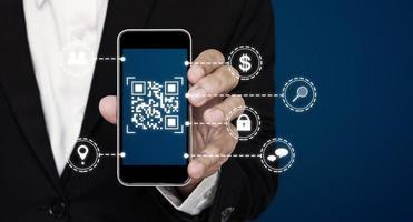 Technologie de code qr sur téléphone intelligent mobile, conceptuel 3d photo