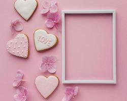 la Saint-Valentin à plat avec espace de copie photo
