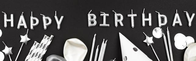 bannière joyeux anniversaire sur fond noir
