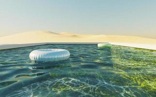 Piscine de fond vert dans un désert de dunes avec un ciel clair et flotte dans l'eau, rendu 3d