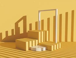 Support de produit orange pastel avec des cubes et un cadre ombragé par de petites colonnes, rendu 3d photo