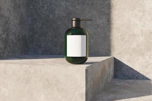Maquette de boîte cosmétique transparente sur coin en béton avec éclairage du soleil, rendu 3d photo