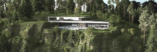 maison moderne dans une forêt photo