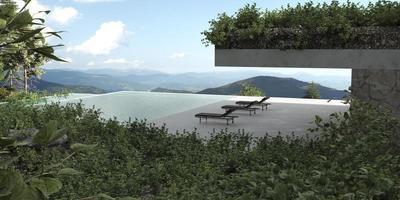 terrasse de maison moderne et piscine privée avec vue photo