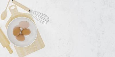 Accessoires de cuisine en bois avec un bol avec des oeufs à l'intérieur et fond de marbre blanc avec un espace pour le texte, rendu 3d