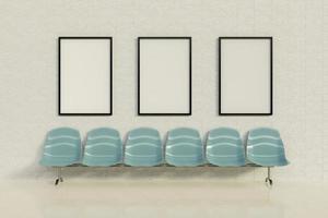 Maquette de cadres publicitaires dans une salle d'attente avec une rangée de sièges, rendu 3d photo