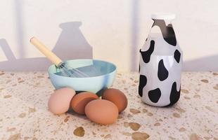 Batteur à main dans un bol avec des œufs autour d'elle et bouteille de lait avec impression de vache, rendu 3d