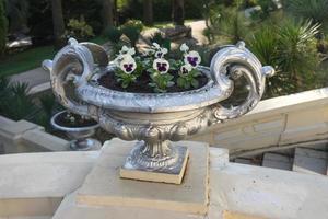 Vase en argent avec des plantes sur des marches en béton dans un arboretum à Sotchi, Russie photo