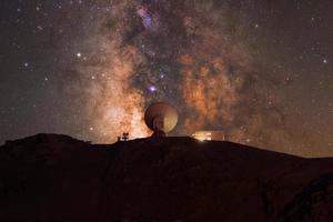 Radiotélescope avec le centre galactique derrière lui