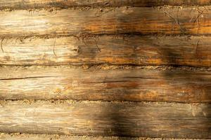 gros plan, de, a, bois rond, mur, dans, lumière jour photo