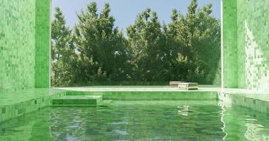 Piscine intérieure carrelée verte avec grande fenêtre et pins derrière
