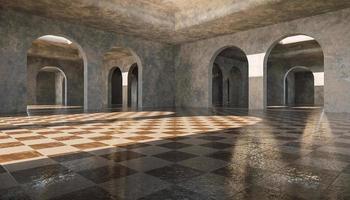 galerie d'arcs en béton infinis avec carreaux de marbre