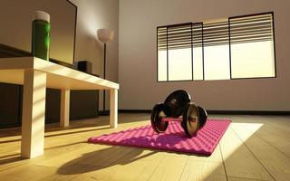 petite salle de sport improvisée dans le salon d'une maison photo