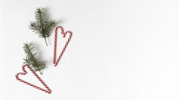 branches de sapin avec des cannes de bonbon photo