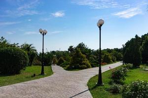 Trottoir en brique, lampadaires et arbres avec un ciel bleu nuageux dans le parc des cultures du sud à Sotchi, Russie