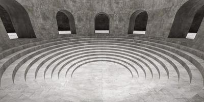 salle circulaire avec des arcs et des escaliers ronds photo