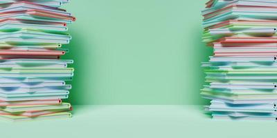 bannière de colonnes de livres colorés sur les côtés