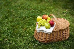 Panier de pique-nique à grand angle avec des fruits sur l'herbe verte photo