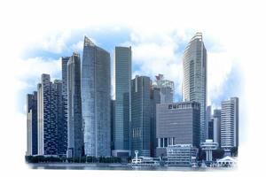 Bâtiments modernes du quartier financier des affaires et du commerce sur fond blanc, concept de construction industrielle et succès avec la technologie