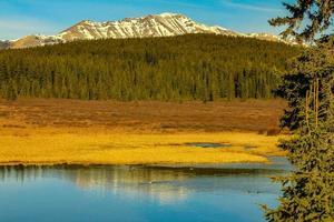 lac avec des montagnes photo
